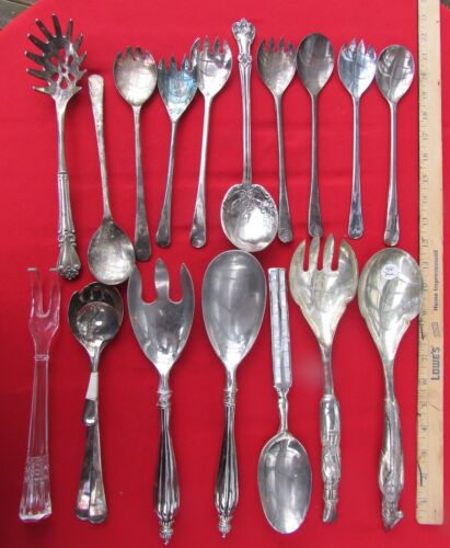 Lot of 19 Unpolished Salad Servers all are Silver Plated Various No Name Mfg.