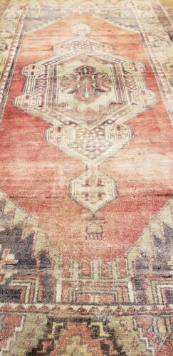 """Late 1920's Antique Muted Dye Wool Pile Oushak Area Rug 3'10""""×9'2"""" Must See"""