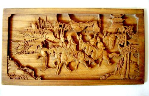 Chinese Heavily Carved Wood Panel, Horses, Figures, Buildings, Trees, Antique