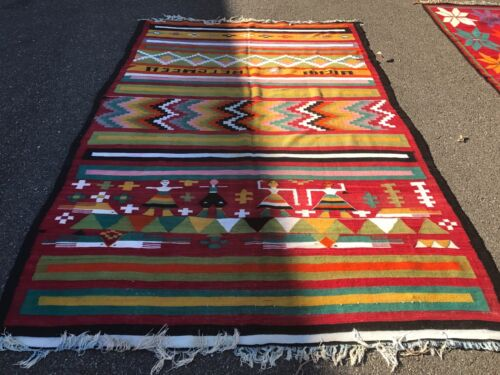 AUTH: ANTIQUE TUNISIAN KILIM RUG, ORGANIC DYES, BEAUTIFUL RARE COLLECTABLE!