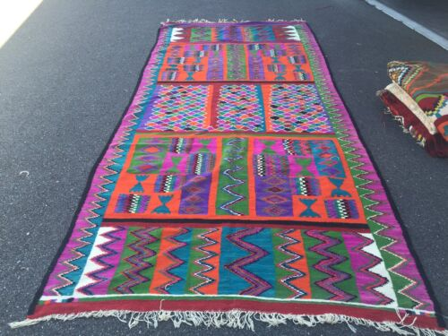 AUTH: ANTIQUE TUNISIA KILIM RUG, ORGANIC DYES, BEAUTIFUL COLLECTABLE