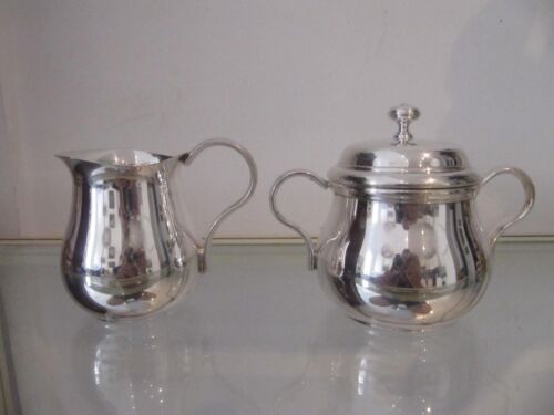 Vintage french silverplate sugar bowl & creamer Gadroons Christofle Albi pattern