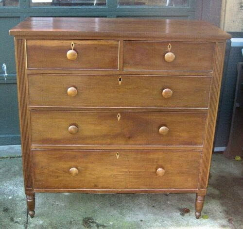 ANT CHERRY SHERATON CHEST 2 OVER 3 DRAWERS REEDED COLUMN POSTS INLAID ESCUTCEONS