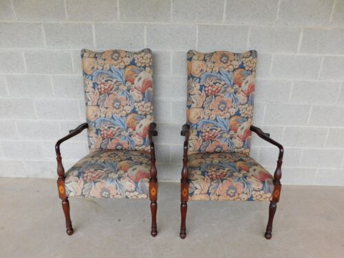 Antique Centennial Period Sheraton Style Mahogany Fireside Arm Chairs - A Pair