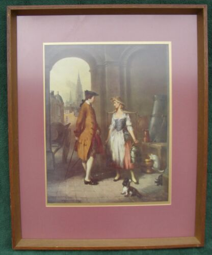 Framed Lithographic Print Vernon de Beauvior Ward Milkmaid in a Market