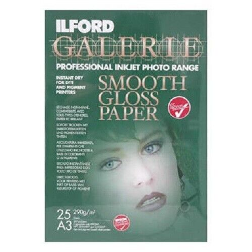 Ilford Galerie -A3 Smooth Gloss - 25 Sheets - PROFESSIONAL INKJET PHOTO PAPER
