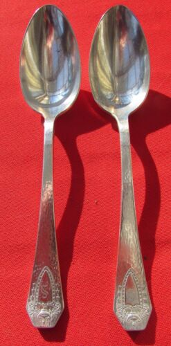 1916 HERALDIC Hammered Pattern 2 Serving Spoons By 1847 Rogers Silverplate Mono