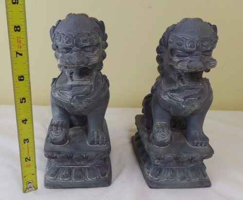 VINTAGE CHINESE PAIR OF GRAY FOO DOGS FROM GESSO