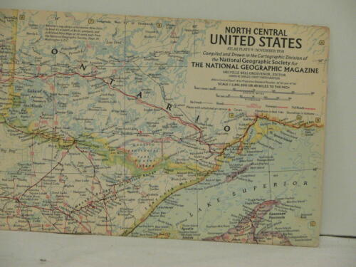 Vintage 1958 National Geographic Map  North Central United States
