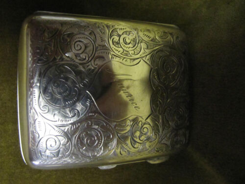 English sterling silver cigarette case Volutes decoration Maurice Birmingham 86g
