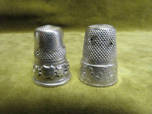 antique french alloy silver 2 thimbles flowers & acanthus leaves  holes