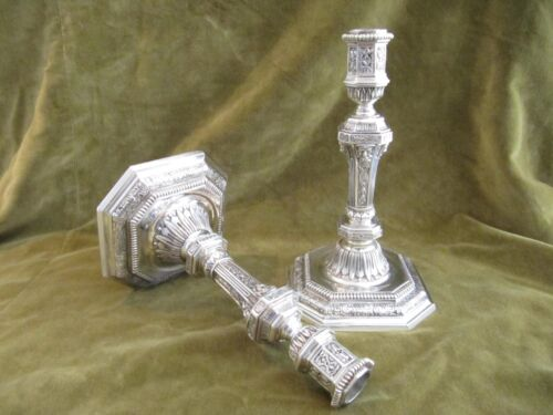 Rare exceptional pair of silvered bronze Candlesticks Christofle regence st