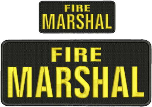 Fire Marshal embroidery patches 4x10 and 2x5 hook gold