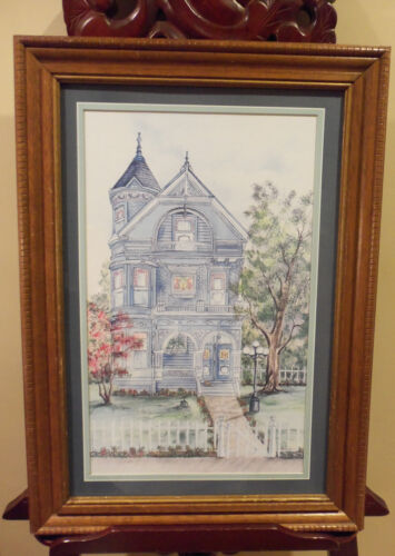FRAMED ART VICTORIAN HOUSE BEAUTIFUL WATERCOLOR SHABBY CHIC COTTAGE STYLE DECOR