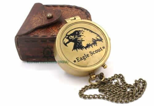 Solid Brass Eagle Scout Compass Leather Case