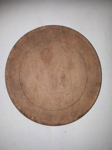 OLD ANTIQUE PRIMITIVE HAND WOODEN BOWL ROUND PLATE OTTOMAN #20