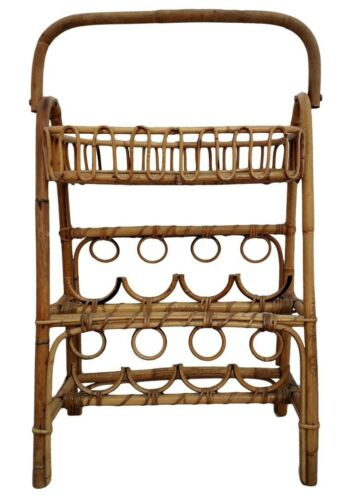 1970s Bamboo Rattan Bent Wood Bottles Rack Holder Franco Albini Style