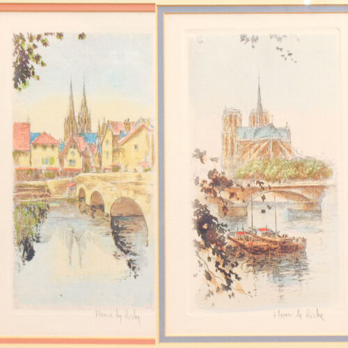 HENRI Le RICHE Pair of Hand Colored Etchings NOTRE DAME Paris HAND SIGNED Framed