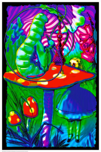 Psychedelic Alice - Blacklight Poster - 24x36 - Smoking 419