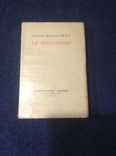 Le Solitudini 1933 Guido Manacorda