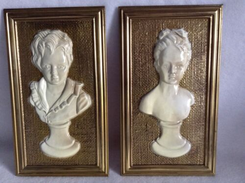 Lovely Pair of Old Framed Head Busts - Male Bust and Female Bust