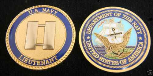US NAVY LIEUTENANT 0-3 LT CHALLENGE COIN USS PROMOTION GIFT PIN UP RANK OFFICEROther Militaria (Date Unknown) - 66534