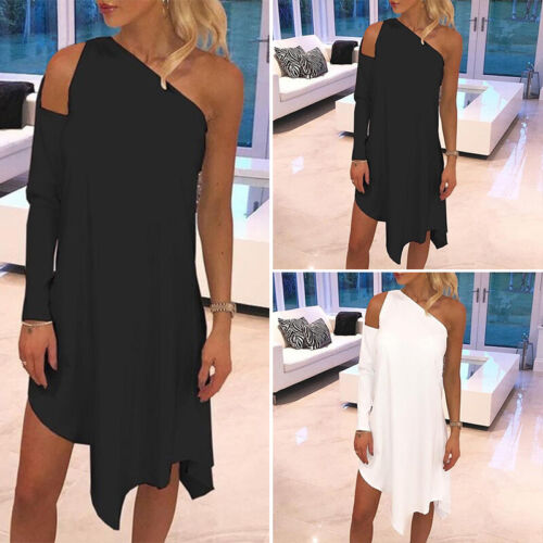 Womens Cold Off Shoulder One Long Sleeve Solid Skater Dress Mini Party Cocktail