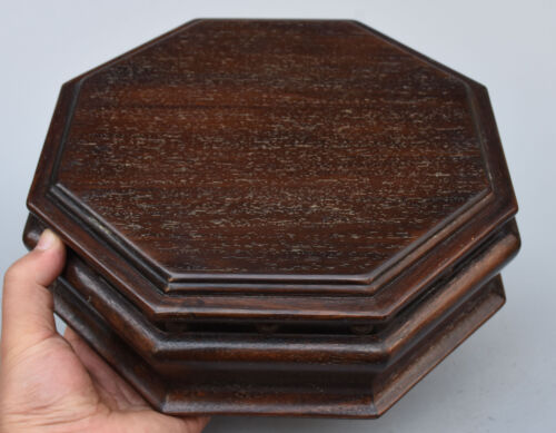"""10"""" Folk Chinese rosewood Wood handcrafted octagon Jewelry Box Interlayer Boxes"""