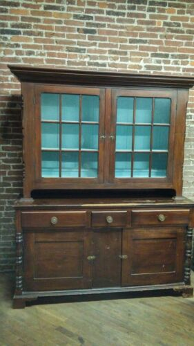 Antique 19th Century Pennsylvania Federal Step Back Dutch Cupboard