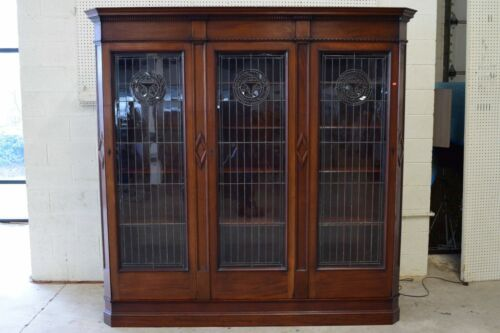 Antique Art Nouveau / Aesthetic Movement Mahogany Leaded Glass Door Bookcase