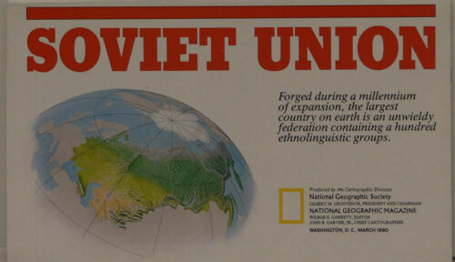 Vintage 1990 National Geographic Map of the Soviet Union