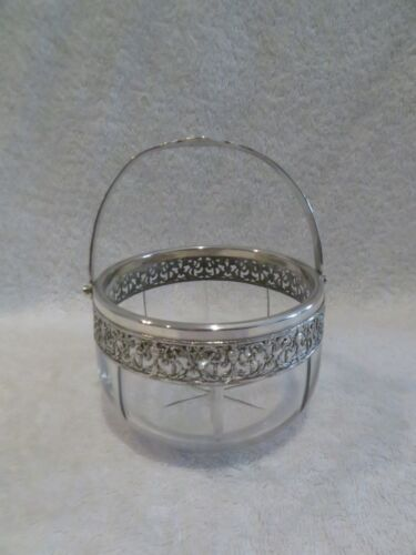 early 20th c french crystal & sterling silver basket / sugar bowl Louis XVI st