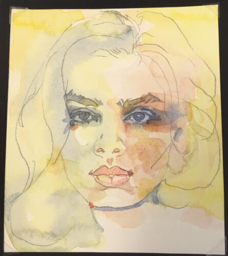 Vibrant Original Painting.Beautiful Young Woman.Soulful Eyes,Memorable & Lovely.