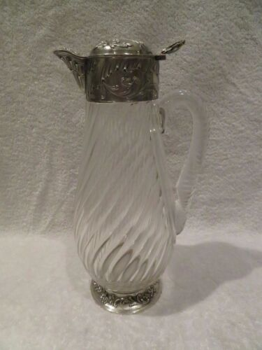 Gorgeous 1890 French twisted crystal & sterling silver claret jug rococo st