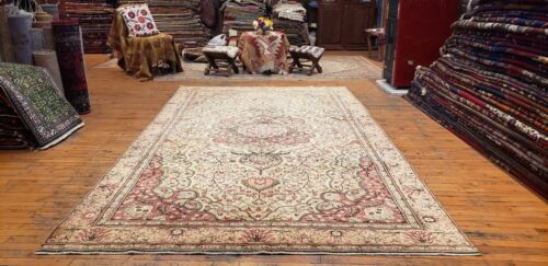 Beautiful Antique 1940's Wool Pile Muted Dye Legendary  Hereke Rug 6'x10'3""