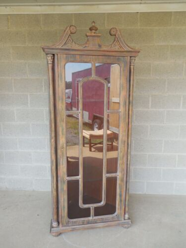 Distressed Painted Chippendale Style Corner China Cabinet