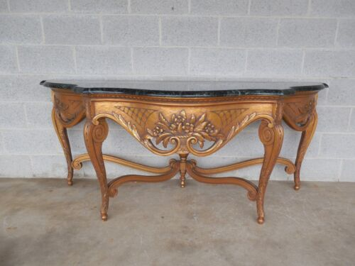 """French Louis XV Style Carved & Gilt Wood Marble Top Console Table 73""""W x 28""""D"""