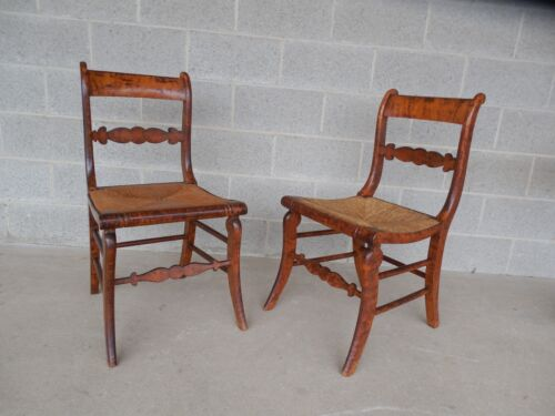 Antique Sheraton Pair Rush Bottom Chairs
