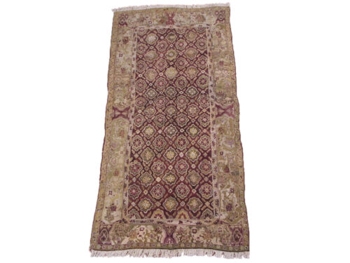 Antique 4X9 Agra Gallery Runner Hand Knotted 1880s Oriental Wool Rug (4.4 x 9.3)