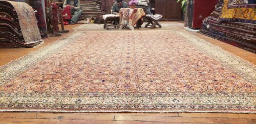 Beautiful Antique 1940's  Natural Color Wool Pile High-End Hereke Rug 8x11ft