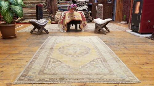 Beautiful Antique 1900-1939's Natural Old Dye Wool Pile Oushak Rug 3'4'x5'3''