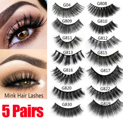 c0d4ea30fcf 5 Pairs 3D Real Mink Hair False Eyelashes Extension Wispy Fluffy Think  Lashes