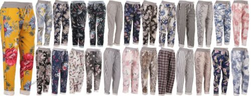 New Italian Ladies Floral Print Summer Beach Cotton Trouser Jogger Size 10-16