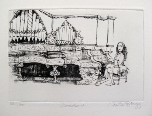 """CHARLES BRAGG """"AMADEUS"""" Hand Signed Limited Edition Art Etching RARE!"""