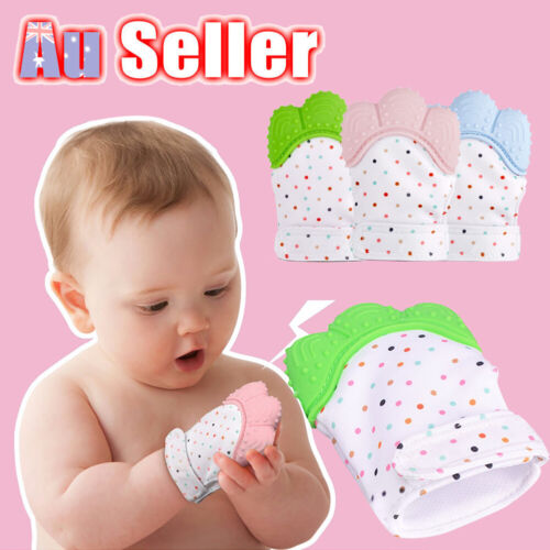 Mitten Silicone Infants Bite Baby Teething Sound Teether Training Glove