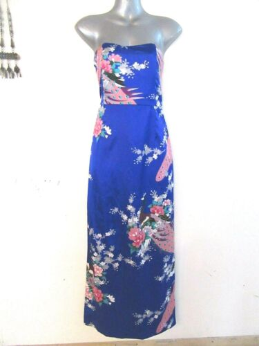 MOROCCO Long Blue Satin Strapless Dress Oriental Chinese Peacock Print 10