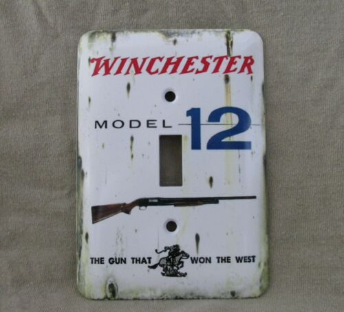Winchester Model 12 - Metal Light Switch Cover -New- Old Tin Sign Look - RusticSigns - 71139