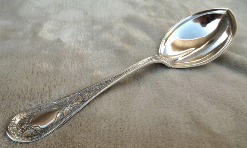 "Persian by Whiting  9"" Sterling serving spoon no mono circa 1880"