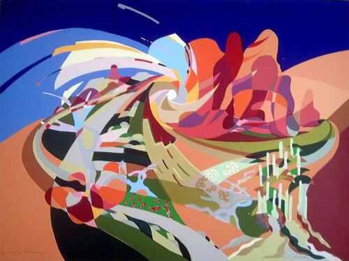 Annie GEORGESON Outback Kaleidoscope - screenprint on paper signed colourful art