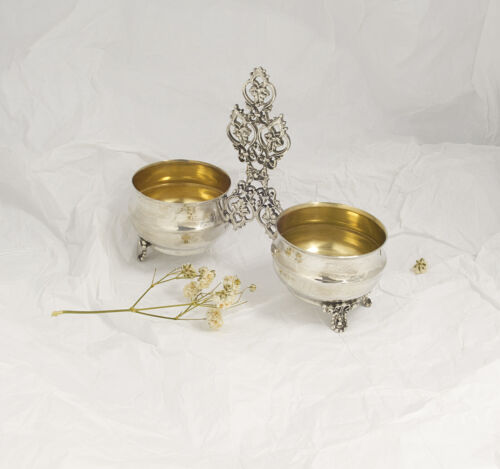 VINTAGE SILVER DOUBLE SALT PEPPER HOLDER SET BOWL FOOTED STERLING 925 DISH GILT